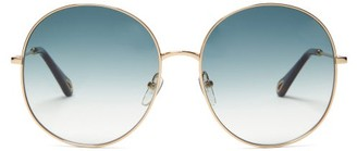 Chloé Round Metal Sunglasses - Blue Gold