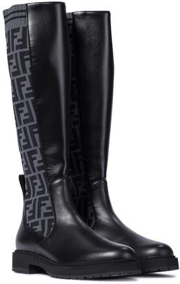 Fendi FF leather knee-high boots