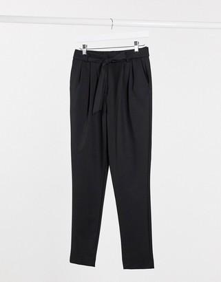 Selected tie waist smart pants in black