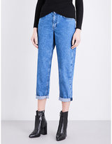 Topshop turn-up cuffs boyfriend-fit high-rise jeans