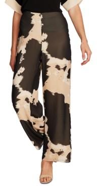 Vince Camuto Cow-Print Wide-Leg Chiffon Pants