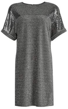 Dorothy Perkins Womens Silver Sequin Shift Dress, Silver