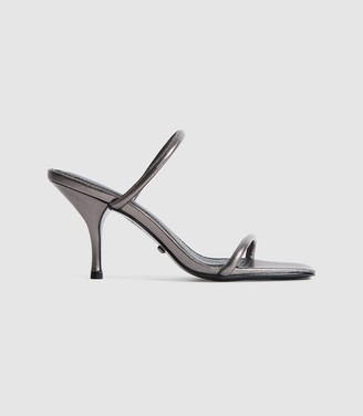 Reiss MAGDA LEATHER STRAPPY HEELED SANDALS Gunmetal