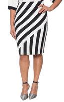 ELOQUII Plus Size Opposing Stripes Pencil Skirt