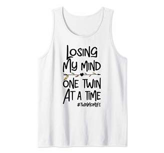 Losing My Mind One Child At A Time Twin Love Heart Womens Tank Top
