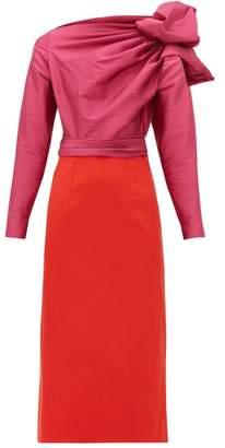 Emilio De La Morena Bow-shoulder Taffeta And Inverted-charmeuse Dress - Womens - Pink Multi