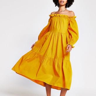 River Island Yellow bardot maxi puff dress