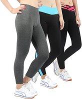 iLoveSIA Women Tights Yoga Workout Leggings Pants SizeXL Grey+Black+Blue