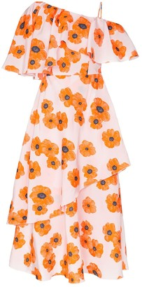 Vika Gazinskaya Poppy Print One-Shoulder Ruffle Dress