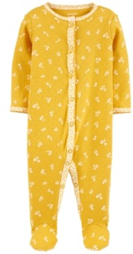 Carter's Baby Girls Cotton Pointelle Floral Footed Pajamas