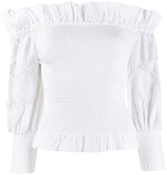 CHUFY Off-Shoulder Frill Trim Top