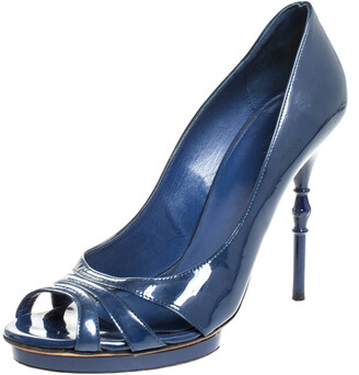 Gucci Blue Patent Leather Open Toe Pumps Size 38