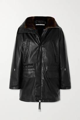 Alexander Wang Hooded Faux Fur-trimmed Faux Leather Down Jacket - Black