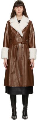Stand Studio Brown Faux-Leather Genesis Coat
