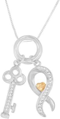 Affinity Diamond Jewelry Affinity 1/8 cttw Diamond Key & Ribbon Pendant, Sterling