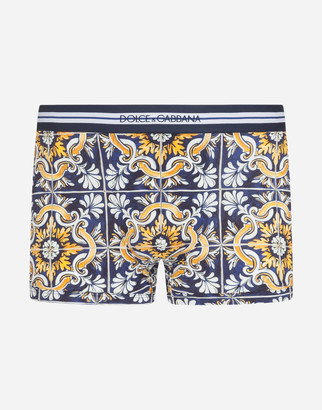 Dolce & Gabbana Cotton Boxers With Maiolica Print On A Blue Background