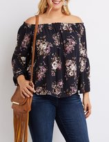 Charlotte Russe Plus Size Floral Off-The-Shoulder Bell Sleeve Top