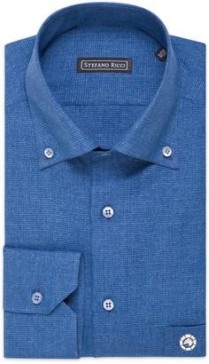 Stefano Ricci Men's Orvieto Cotton Pique Dress Shirt with Eagle Pocket