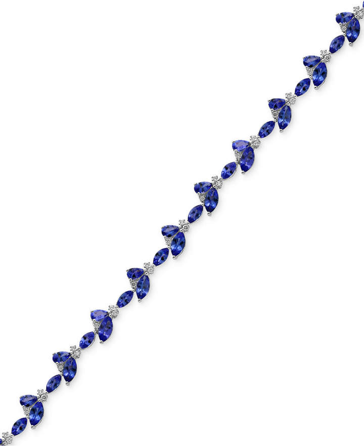 Effy Tanzanite Royale by Tanzanite (9 ct. t.w.) and Diamond (1/2 ct. t.w.) Link Bracelet in 14k White Gold, Created for Macy's
