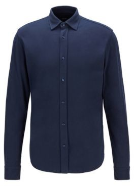 HUGO BOSS Slim Fit Shirt In Suede Finish Cotton Jersey - Dark Blue