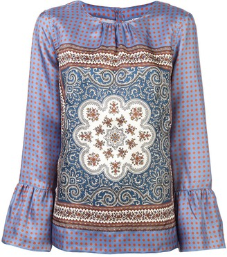 Le Sarte Pettegole Embroidered Long-Sleeve Blouse