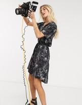 AllSaints athea strength printed midi dress in black