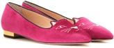 Charlotte Olympia Mid-century Kitty Velvet Slippers