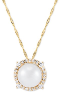"Honora Cultured Freshwater Pearl (8mm) & Diamond (1/6 ct. t.w.) 18"" Pendant Necklace in 14k Gold"
