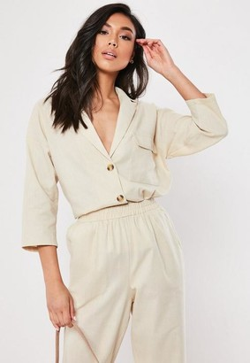 Missguided Or Apart Stone Linen Look Tortoiseshell Button Co Ord Shirt
