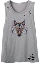So'each Women's Animal Fox Printed Letters Graphic Printed Tee Cami Tank Top