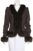 Rena Lange Fox Fur-Trimmed Wool Jacket