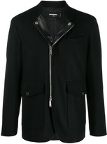 Dsquared2 zip-up leather trim jacket