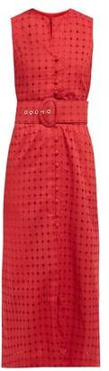 Cult Gaia Gia Diamond-embroidered Cotton Midi Dress - Womens - Dark Red