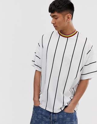 Asos Design DESIGN oversized t-shirt in vertical stripe with color neck tipping-White