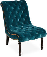 Massoud Furniture Dagny Slipper Chair, Teal Velvet