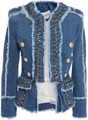 Balmain Frayed Chain-trimmed Denim Peplum Jacket