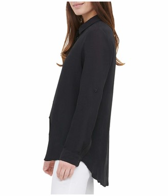 Calvin Klein Women's Solid Roll Sleeve Tunic