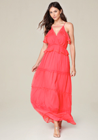 Bebe Ruffle Tiered Maxi Dress