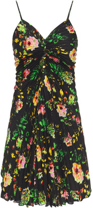 MSGM Pleated Floral-print Crepe De Chine Mini Dress