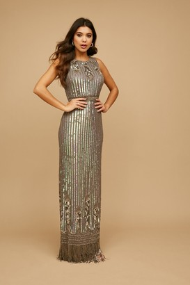 Little Mistress Bayliss Grey Deco Embellished Maxi Dress