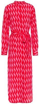 Yolke Belted Printed Silk Crepe De Chine Nightshirt