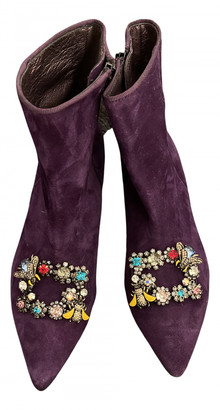 ras Purple Leather Ankle boots