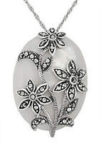 Mother of Pearl Suspicion Sterling Marcasite Mother-of-Pearl Pe