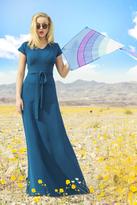 Shabby Apple Melanie Techno Crepe Maxi Dress Blue