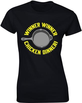 Flip Womens PUBG Inspired Gamer T-Shirt Winner Chicken Dinner Black UK 10-12 (L)