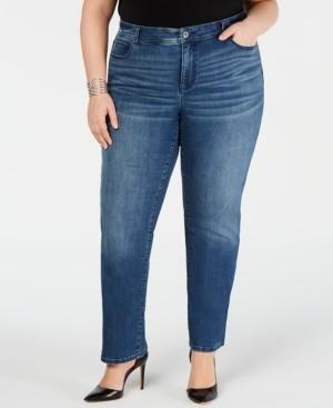INC International Concepts Inc Plus & Petite Plus Size Tummy Control Straight-Leg Jeans, Created for Macy's