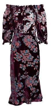 Saloni Grace Off-The-Shoulder Silk Midi Dress