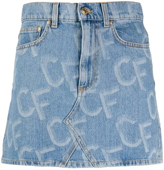 Chiara Ferragni Logo-Print Short Denim Skirt