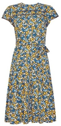Dorothy Perkins Womens **Billie & Blossom Petite Multi Colour Short Sleeve Floral Print Lace Skater Dress