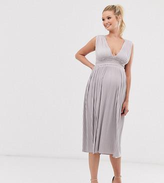 Asos DESIGN Maternity premium lace insert pleated midi dress